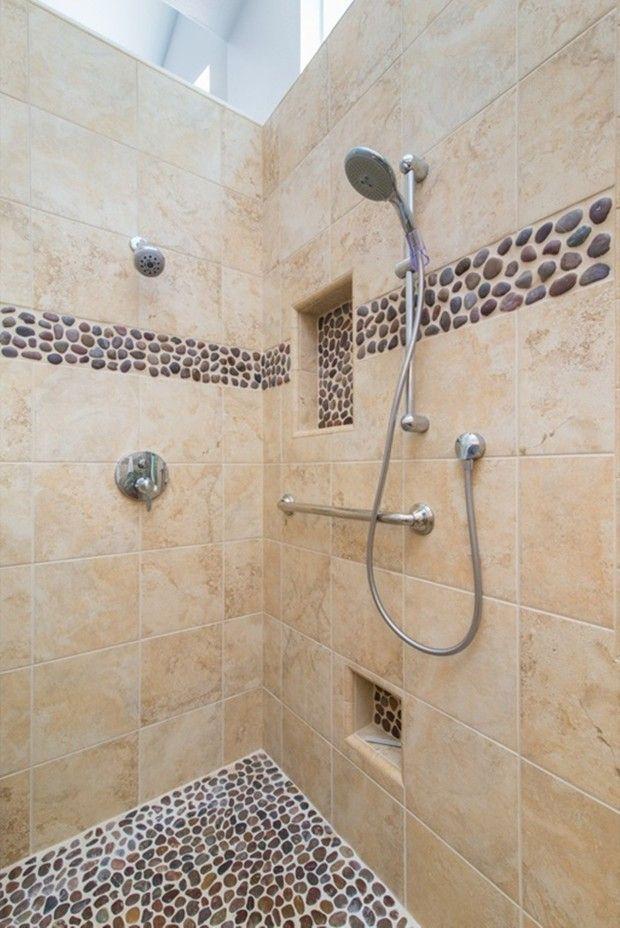 small bathroom pebble tile shower floor