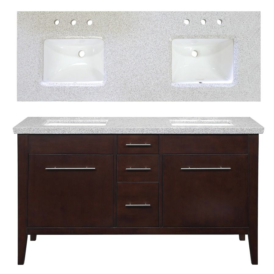 Shop Allen Roth 60 In Espresso Newfield Double Sink Bathroom
