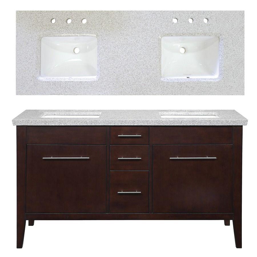 Shop allen + roth 60-in Espresso Newfield Double Sink ...