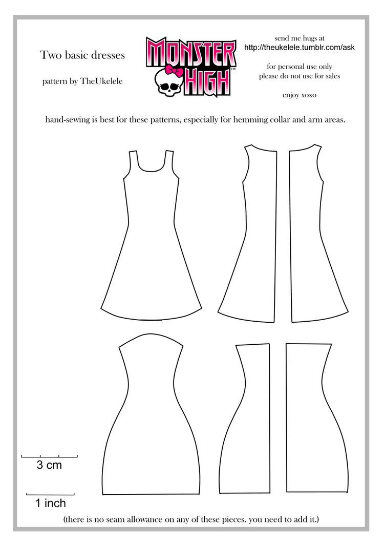 Monster High Two Basic Dress Patterns by ~TheUkelele on