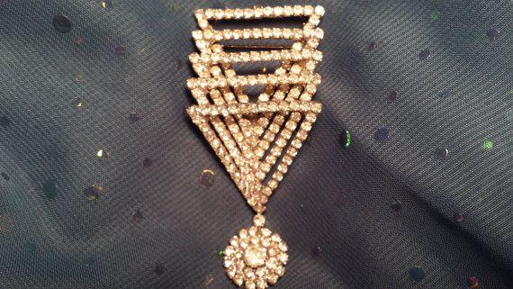 GLITZY Deco Style Pin w/ Prong Set Rhinestones by ceiltiques