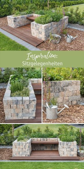 Inspiration: Sitzgelegenheiten aus Mauersteinen mit der SIOLA® Mini Muschelkalk. #gartenlandschaftsbau