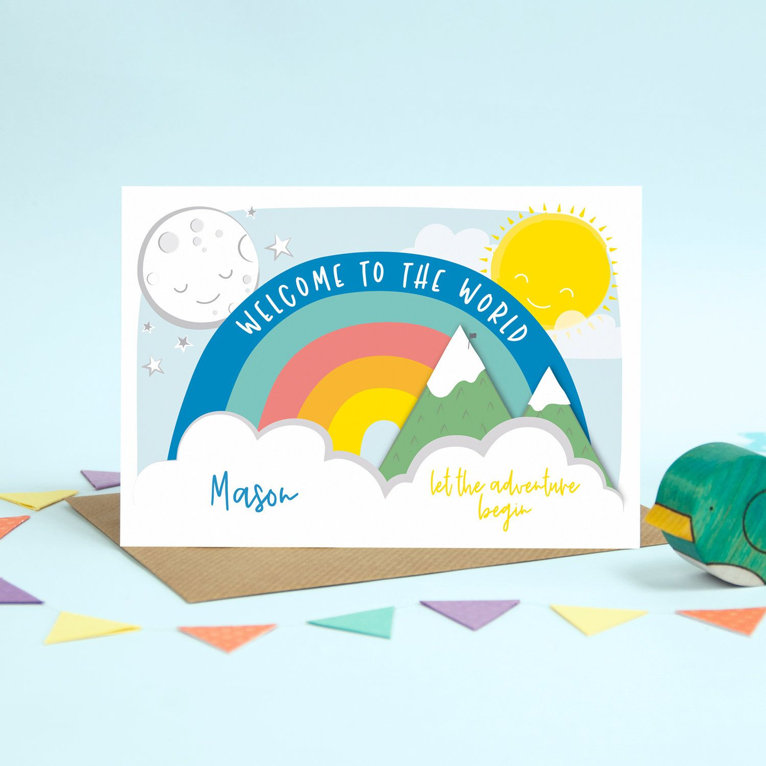 Personalised Welcome to The World New Baby Card Rainbow Card Personalised New Baby Card Personalised Welcome to The World Rainbow Card