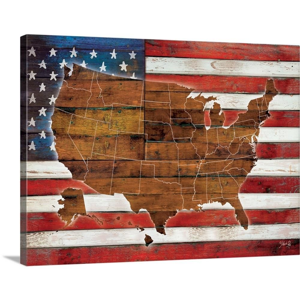 "GreatBigCanvas ""American Flag USA Map"" by Rae Marla Canvas"