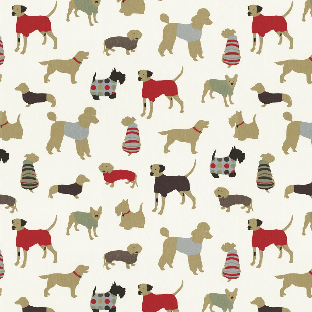 Animal print fabric featuring dog breeds with red accents - Dog print wallpaper ...