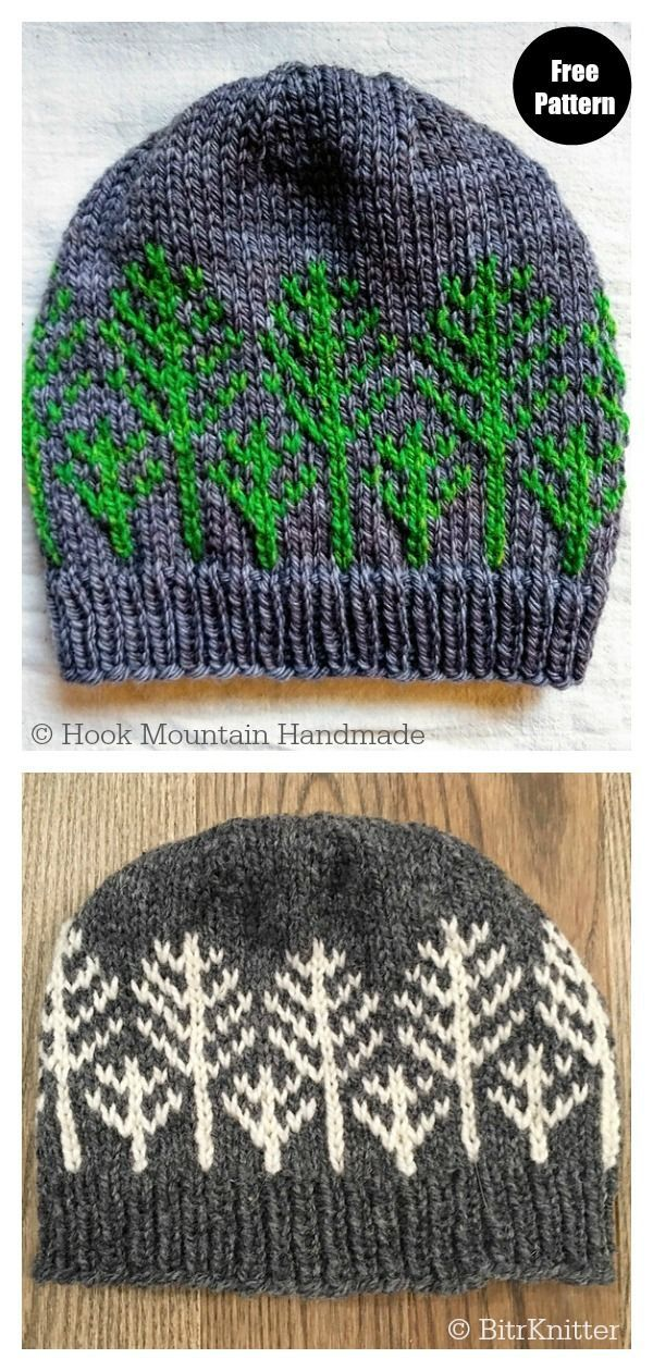 Forest For The Trees Hat Free Knitting Pattern #freeknittingpattern  #knittingpatterns  #knittinghats  #christmashat