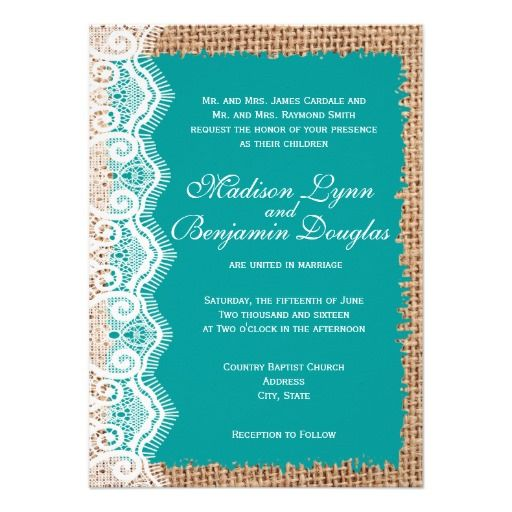 Rustic Burlap Lace Turquoise Wedding Invitations