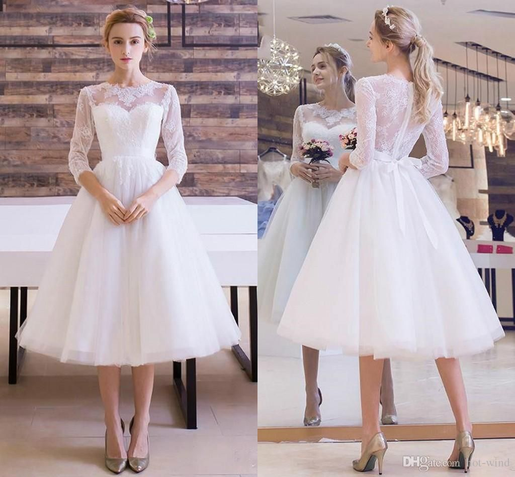 Short lace wedding dress with sleeves  Elegant Little White Dresses Knee Length Short Wedding Dresses
