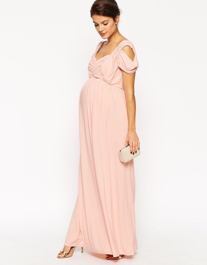 Maternity WEDDING Maxi Dress With Cold Shoulder ...