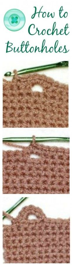 How to crochet buttonholes ... step-by-step photo tutorials. #diy #crochet #sewing