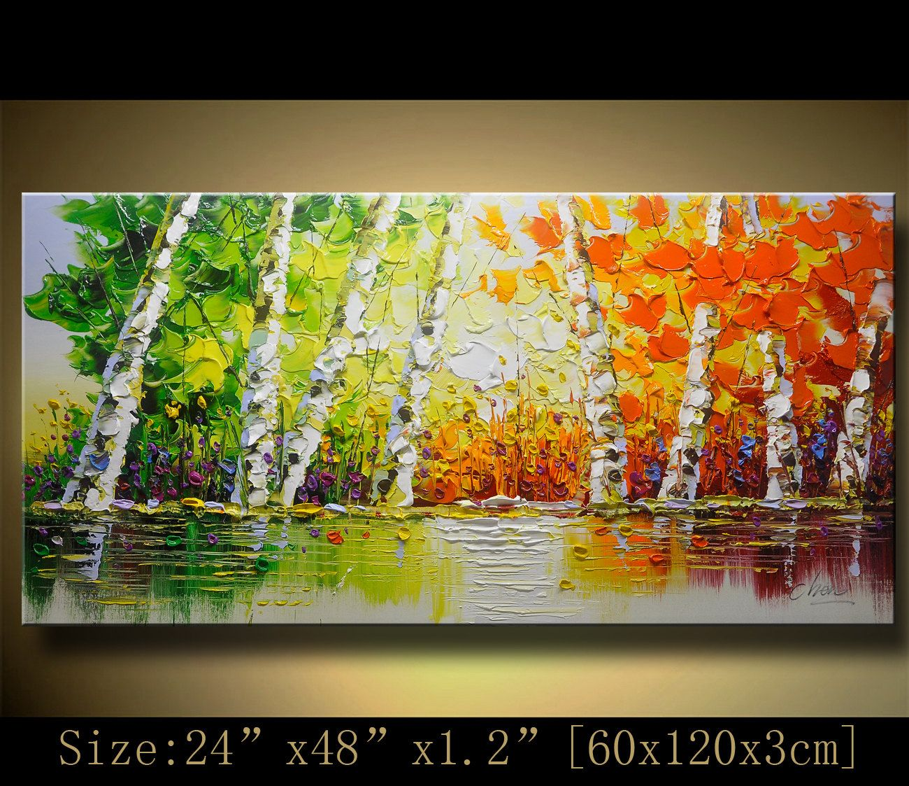contemporary wall art,Palette Knife Painting,colorful Park painting ...