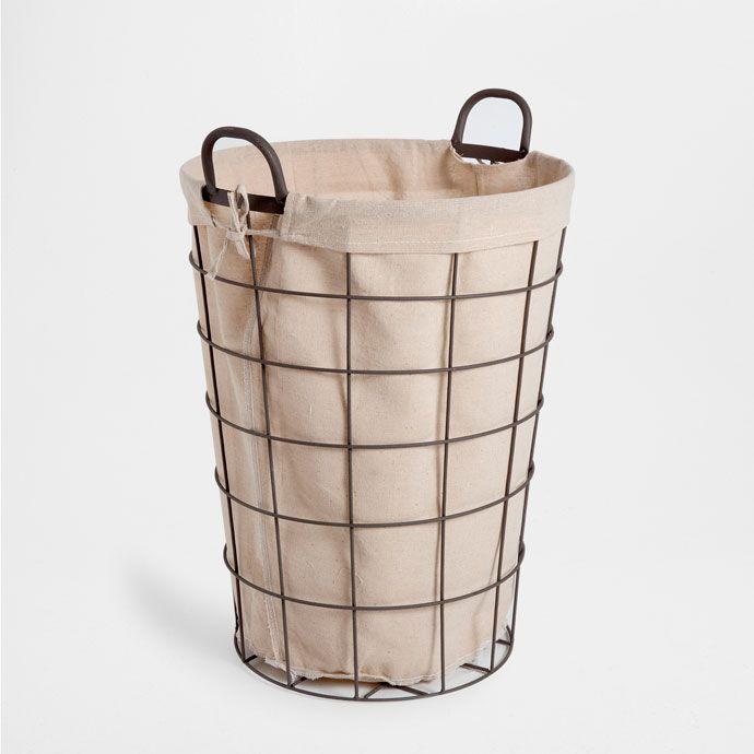 cesta ropa redonda cuadros metal negra con asa cestas decoracin zara home espaa