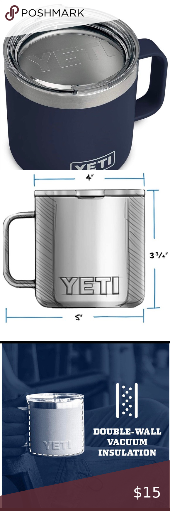 YETI Rambler 14oz Navy Mug w/Standard Lid NEW! in 2020