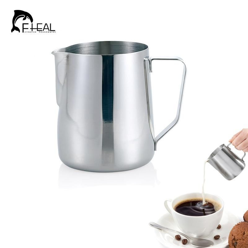 FHEAL Stainless Steel Coffee Tool Frothing Pitcher Pull