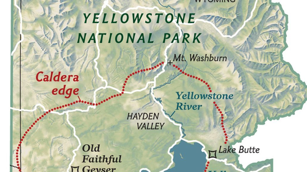 A Map Of Yellowstone National Park Wyoming Shows The Outline Of The Caldera Of The Massive Yell Yellowstone Map Yellowstone National Park Create Your Own Map