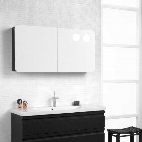 Dansani LED Spiegelschrank, 120 x 60cm - mit runden Lichtfeldern - spiegelschrank f rs badezimmer