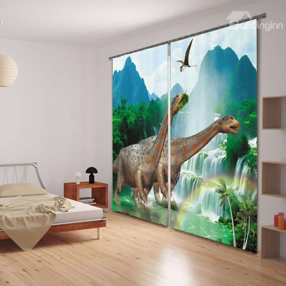 3D Dinosaur Digital Printing Sleep Friendly Curtain