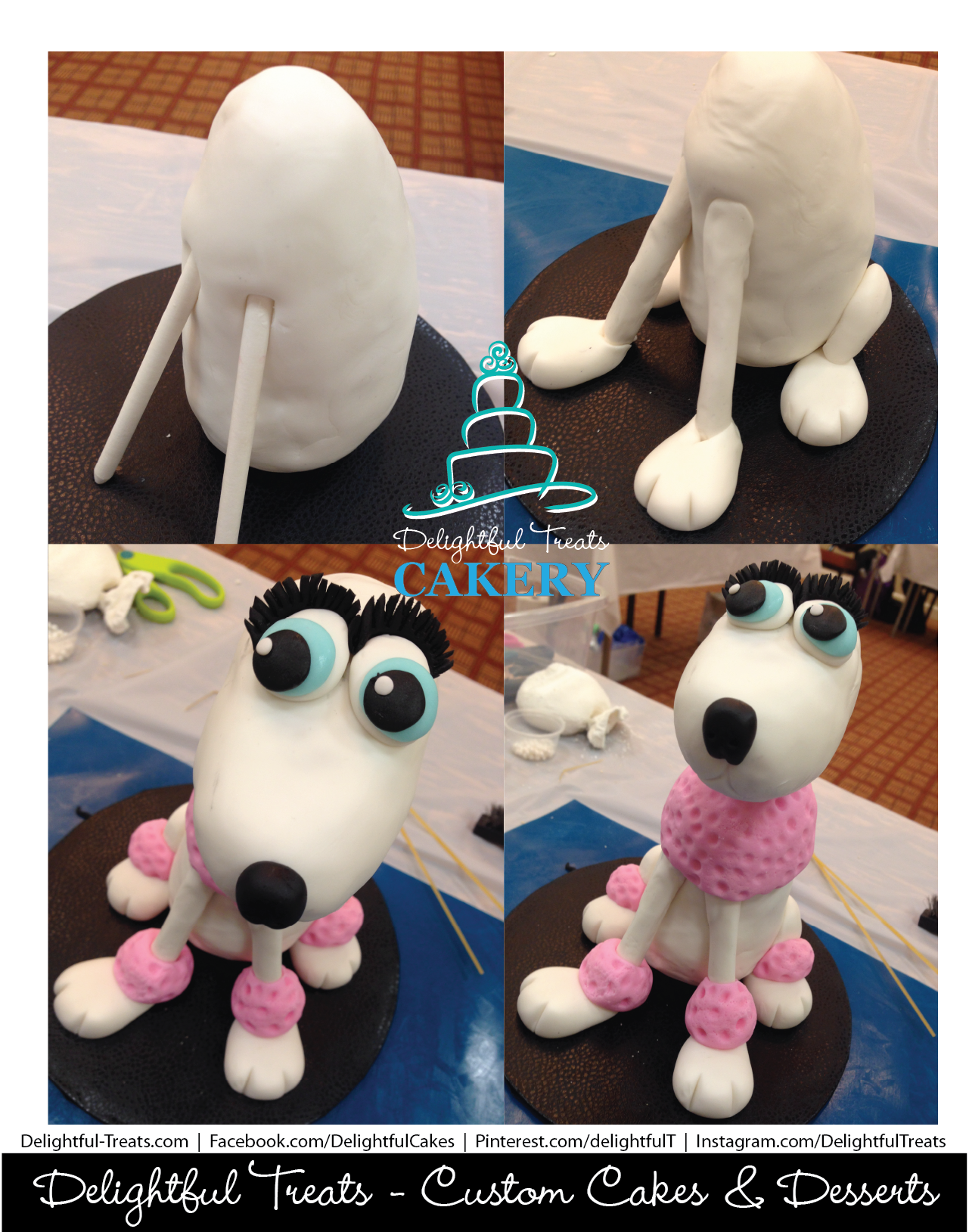 Fifi The French Poodle Sculpted Dog From Rice Krispies And Fondant By Delightful Treats Cakery