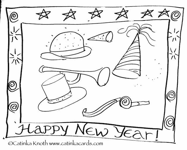 Happy New Year Hats Coloring Page Digital Download By Catinkarts