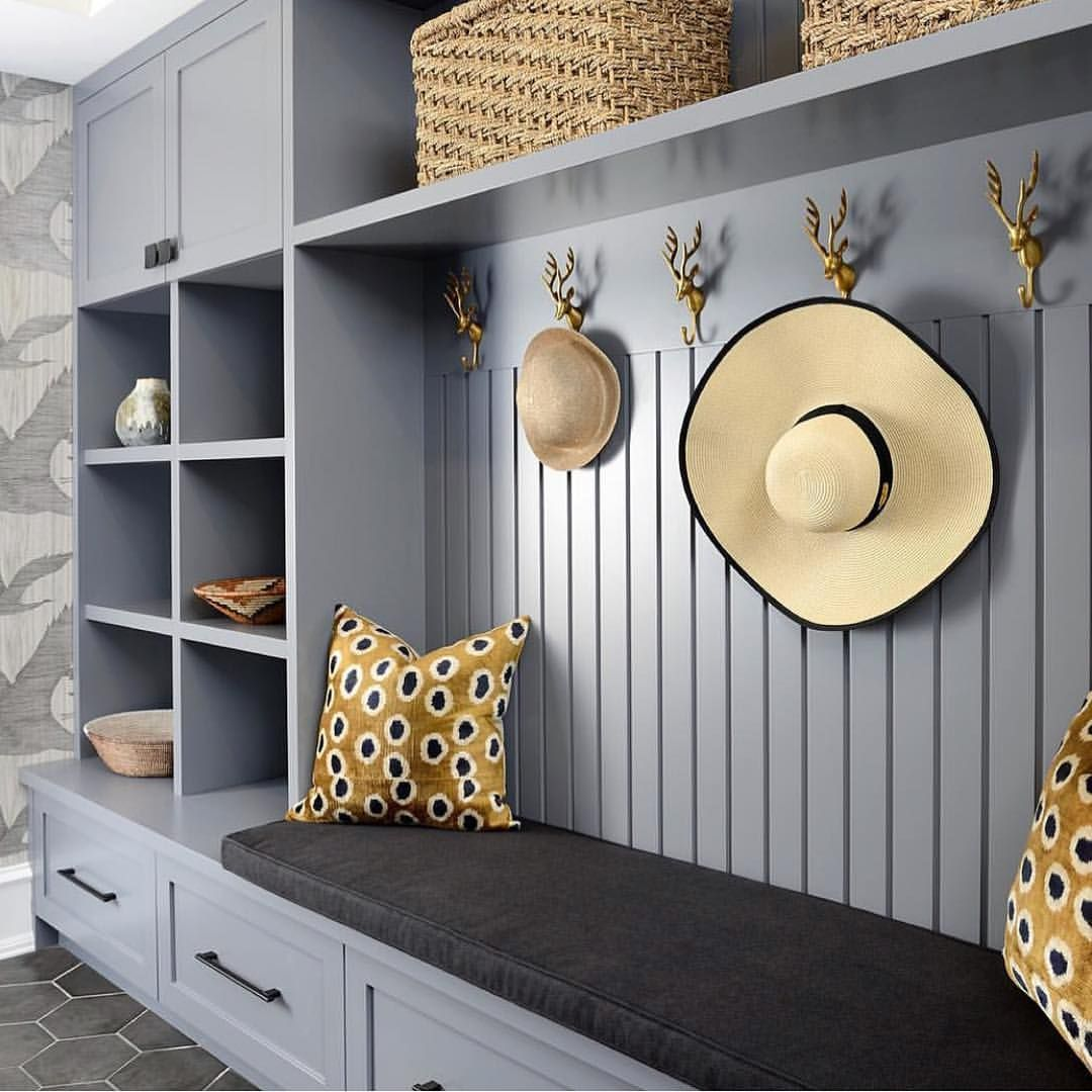 Closet Ideas Mudroom Design: Cool Hooks, Hardware And Wallpaper