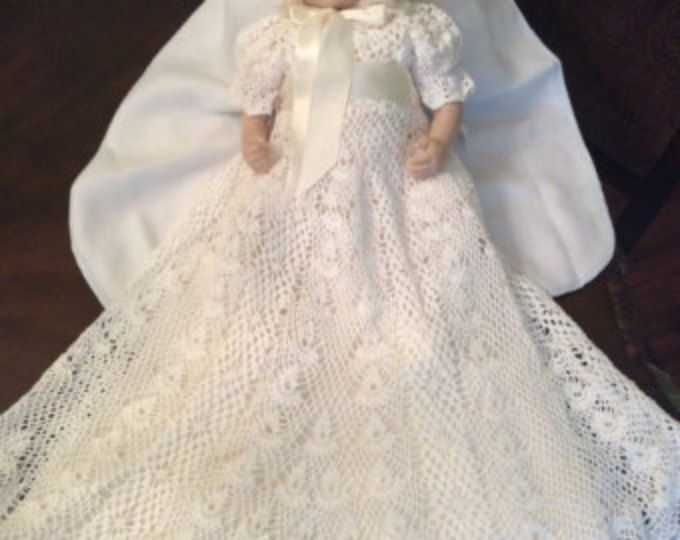 Heirloom Vintage style Christening gown crochet pattern, blessing ...
