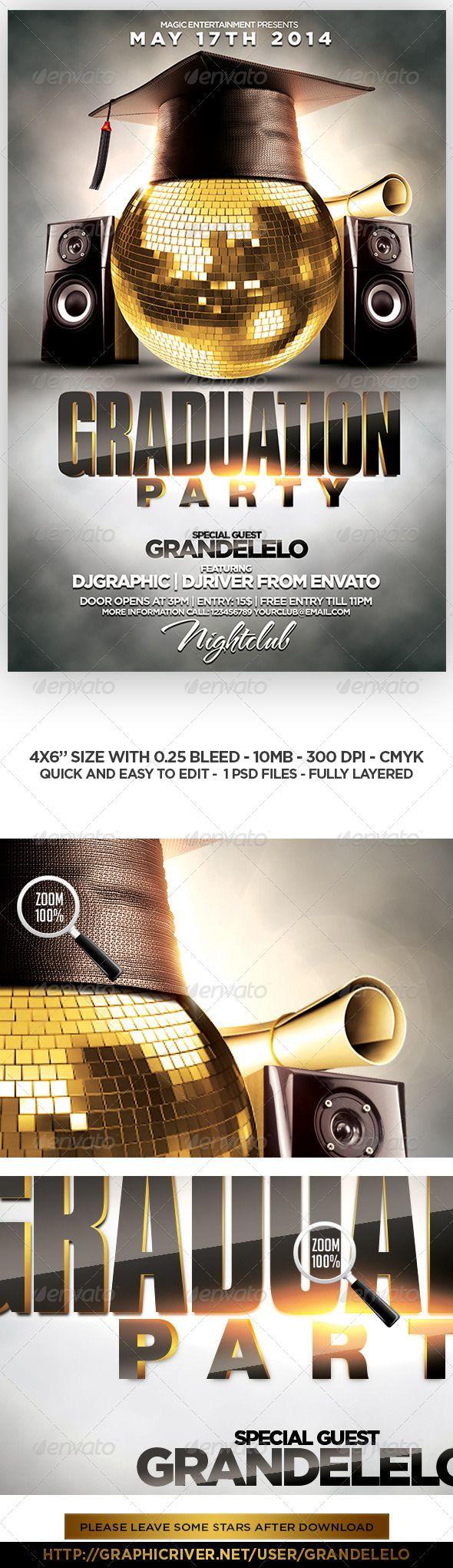 Graduation Party Flyer Template | Ads | Pinterest | Flyer template ...