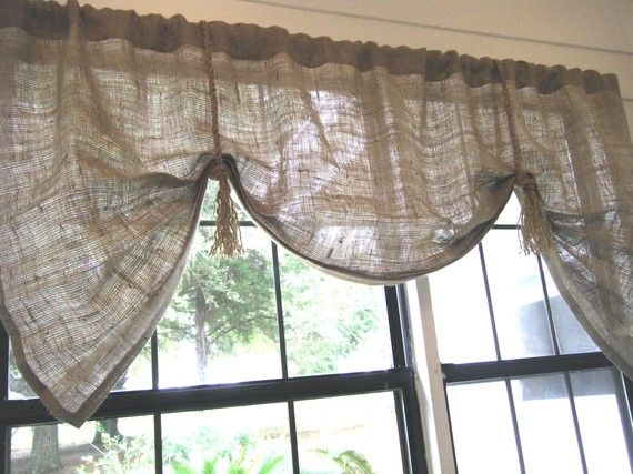 Burlap Window Valance 42 W 108 W X 25l The Hemingway In Burlap With Fringed Jute Ties By Jackie Dix Valance Burlap Valance Kitchen Window Treatments