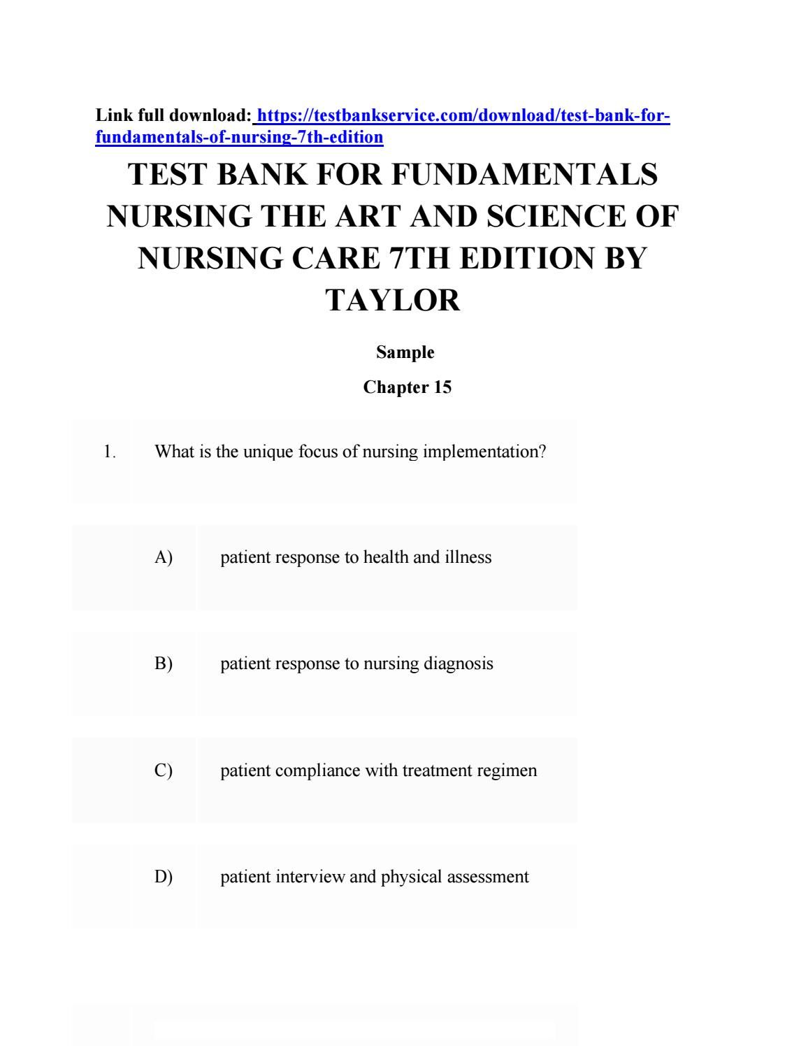 Download test bank for fundamentals nursing the art and science of ...