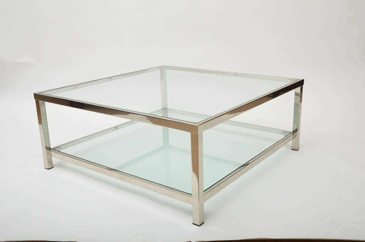 Contemporary Chrome And Glass Coffee Table In 2020 Square Glass Coffee Table Rectangle Glass Coffee Table Glass Coffee Table