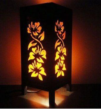 Attractive Thai Vintage Handmade ASIAN Oriental Orange Hibiscus Flowers Art Bedside  Desk Or Table Lamp Shades