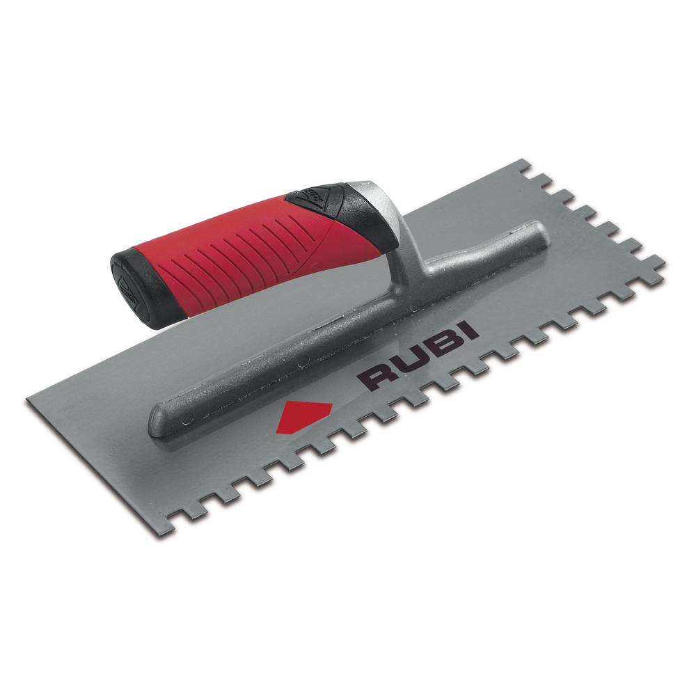 Rubi Pro 11 In X 1 4 In X 13 32 In Steel Notched Pool Trowel Concrete Tools Garden Trowel How To Lay Tile
