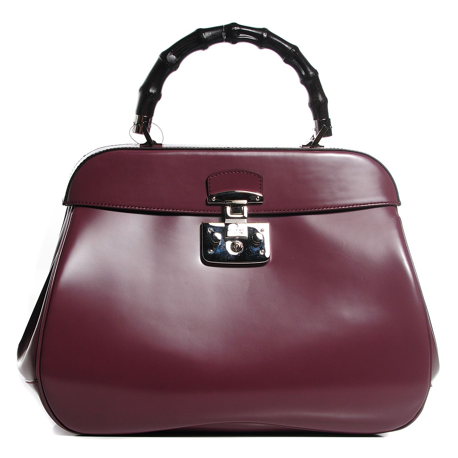 15eaab06b2cd GUCCI Leather Bamboo Large Lady Lock Top Handle Bag Red Orchid ...