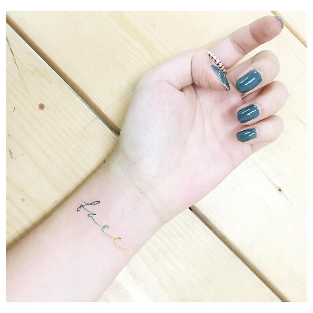 """"""": Green Lettering . . #tattooistbanul #tattoo #lettering #letteringtattoo #font #typo #colortattoo  #tattooartist #tattoostagram  #tattooinkspiration…"""""""