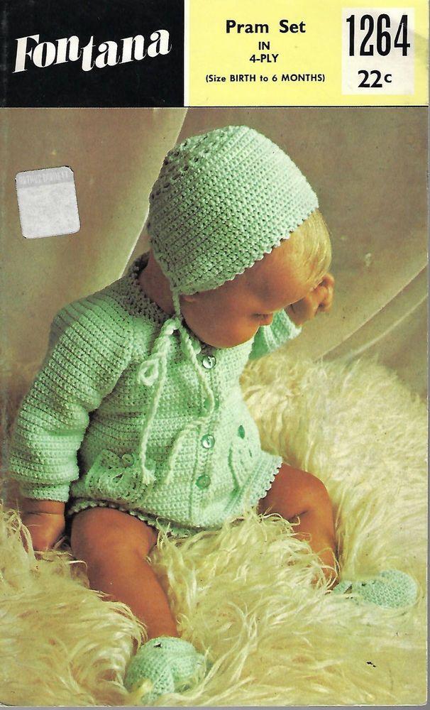 Baby Pram Set Fontana 1264 Vintage Crochet Pattern 4 Ply Yarn