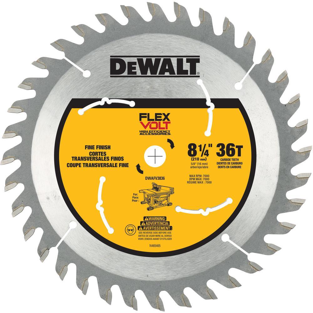 Dewalt Flexvolt 8 1 4 In 36 Teeth Carbide Tipped Table Saw Blade Table Saw Blades Diy Table Saw Best Table Saw