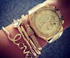 watch, gold, braclet, fashion