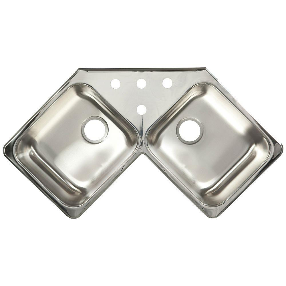 Kindred 20 Gauge Drop In Stainless Steel 43 43 In 4 Hole Corner Double Bowl Kitchen Sink Fcr804bx The Home Depot Double Bowl Kitchen Sink Top Mount Kitchen Sink Kitchen Sink