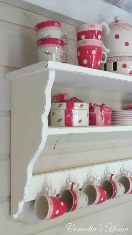 Landelijk Keukenrek Kapstok Regaal Op Maat Gemaakt Rood