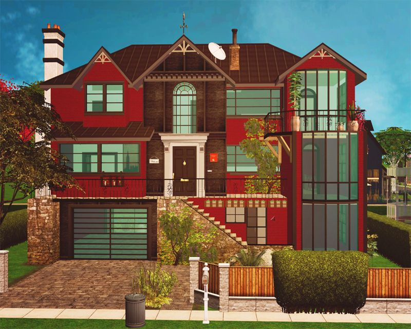 Great Mechbutterfly: As Promised: The Red Art Deco House A Mix Of Art Deco,  Victorian And Modern. 3 Floors With Plenty Of Space For Your Sims, 4 5  Bedrooms (one ...