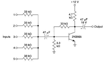 Simple audio mixer electronic project circuit diagram azim1
