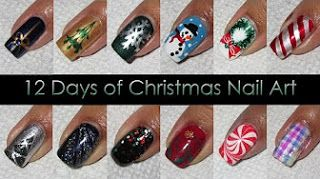 Video Tutorial - Arte em unhas para o Natal, 12 estilos!
