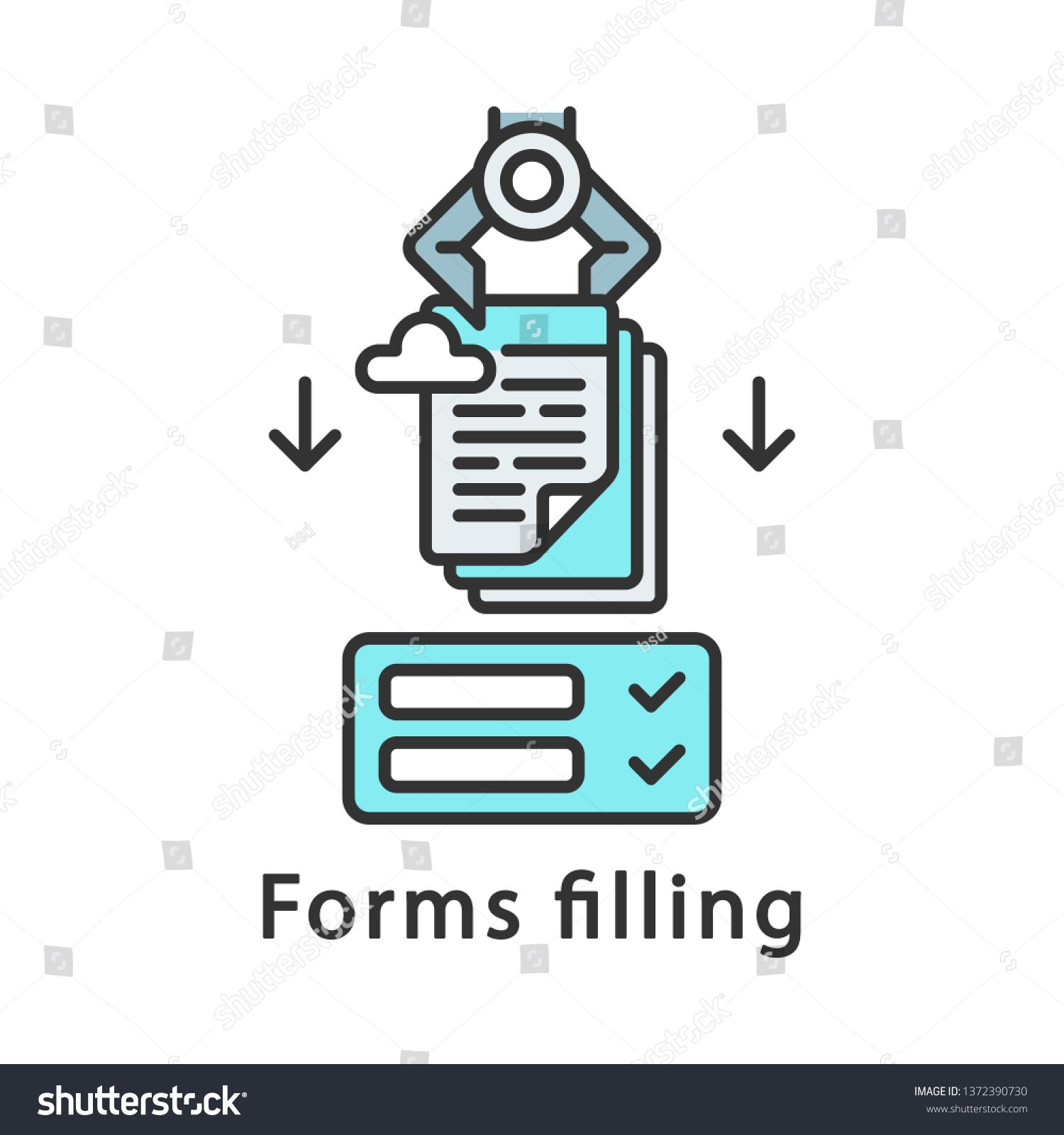 Forms filling color icon. Robot inputting data to forms
