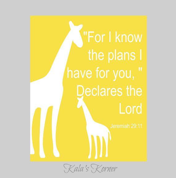 bible verse nursery art print decor, giraffe nursery art print ...