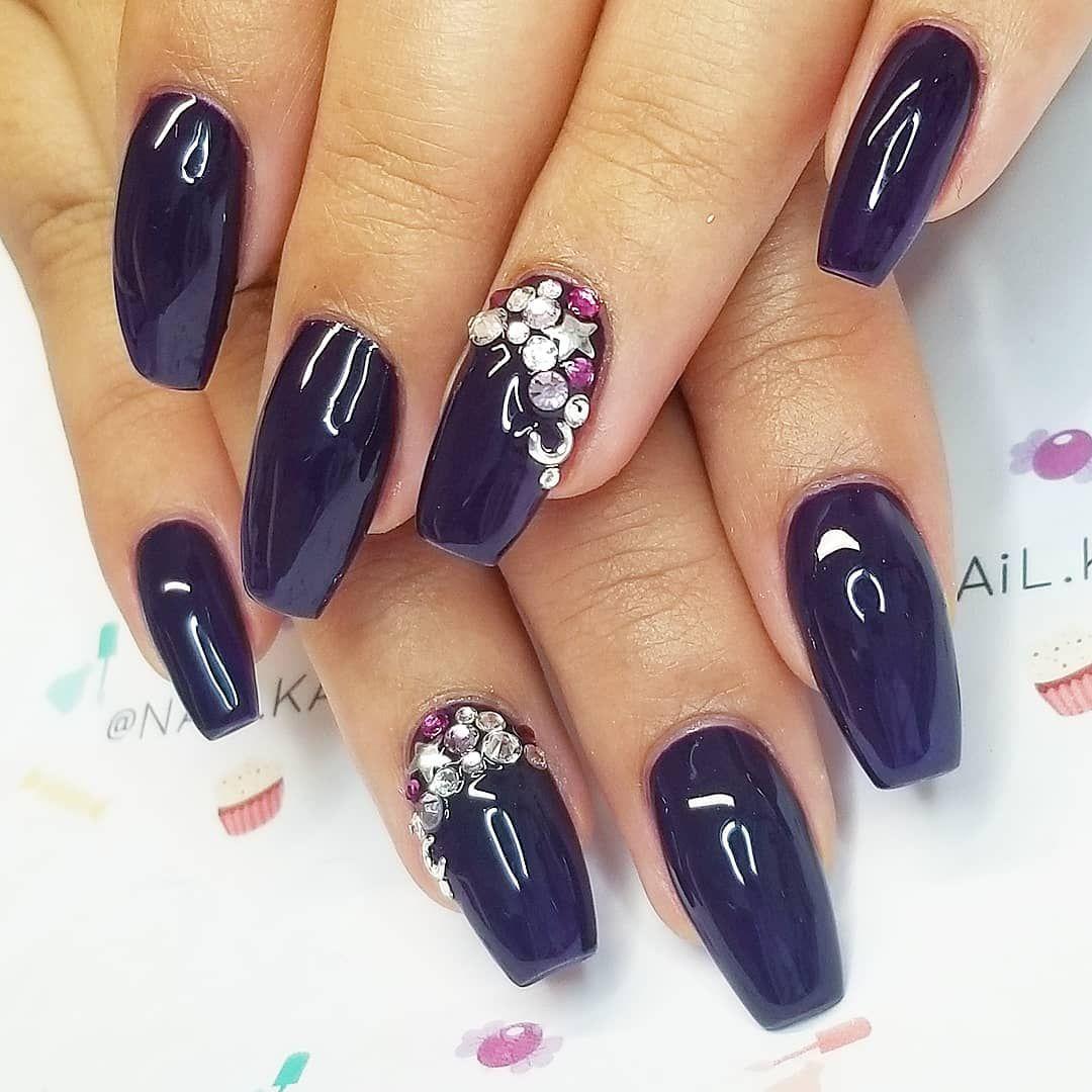 "Kate - Nail Kandy on Instagram: ""A sprinkle of Magic🌠 . .  #nailkandy #nails #gelnails #coffinnails #purplenails #darkpurplenails #accentnails #swarovskicrystals…"""