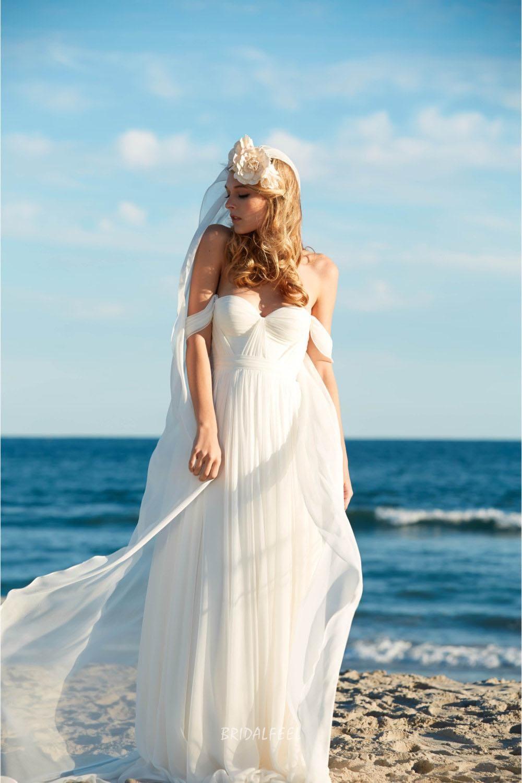 Offtheshoulder sweetheart chiffon beach summer wedding dress