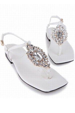 1db6b0a68 Pu Rhinestone Thong Flat Sandals   Women s Sexy Sandals Shoes