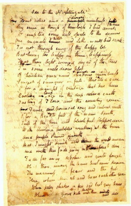 manuscript of ode to a nightingale by john keats little  manuscript of ode to a nightingale by john keats 1819 little can match the