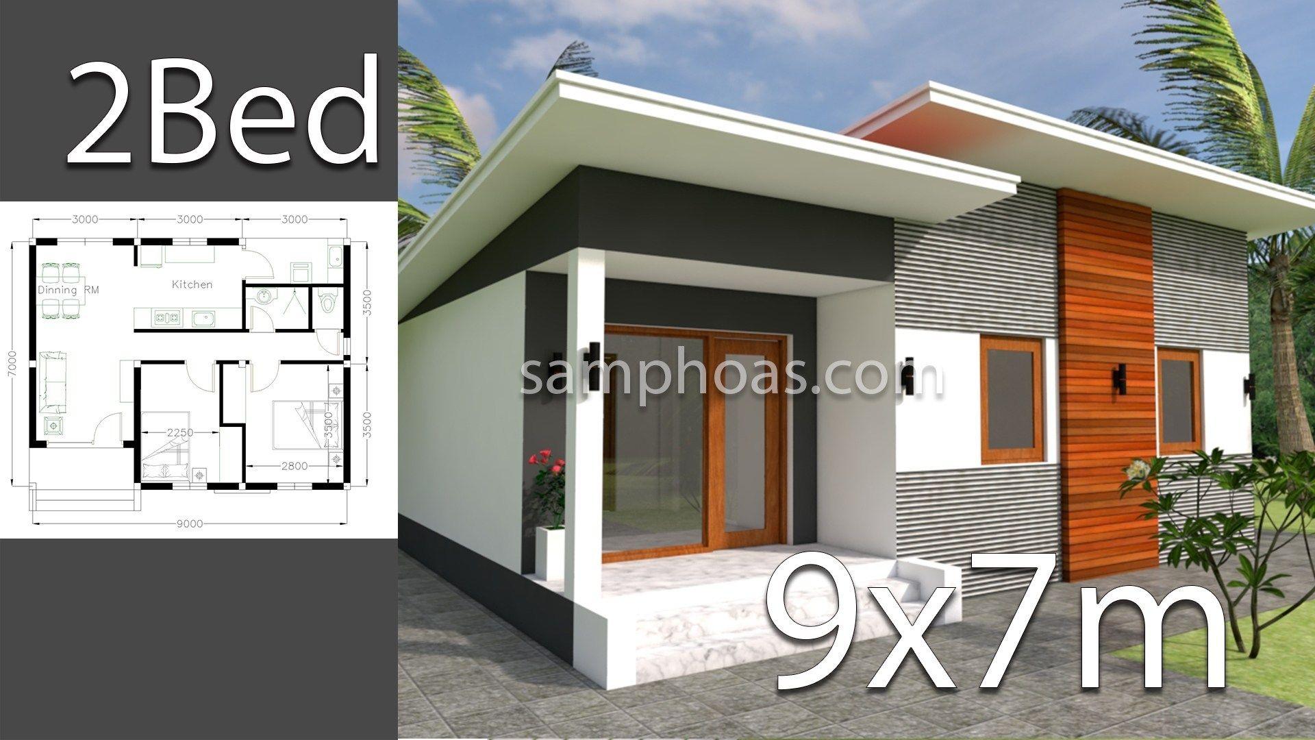 House Plans 9x7m With 2 Bedrooms Plan Maison Architecte