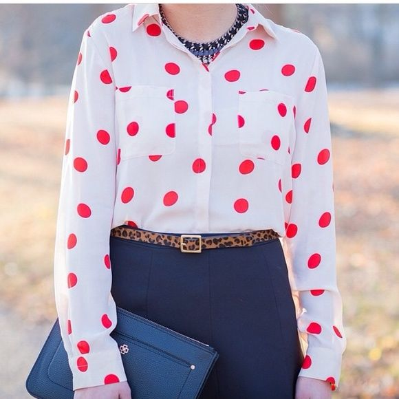 LOFT - Utility Polkadot shirt In punchy polka dots, this polished essential is always spot on. Collared. Long sleeves. Patch chest pockets. Button cuffs. Back yoke with box pleat. Shirttail hem. Size XS, NWT. ❌NO TRADING. LOFT Tops