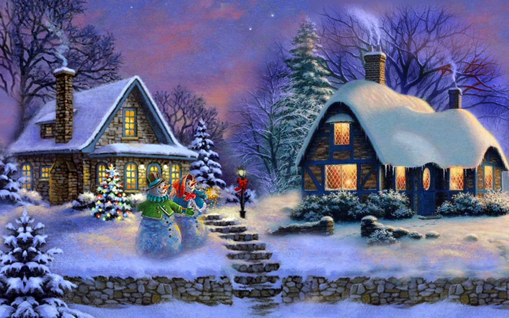 Artistic Painting Artistic Christmas House Snowman Tree